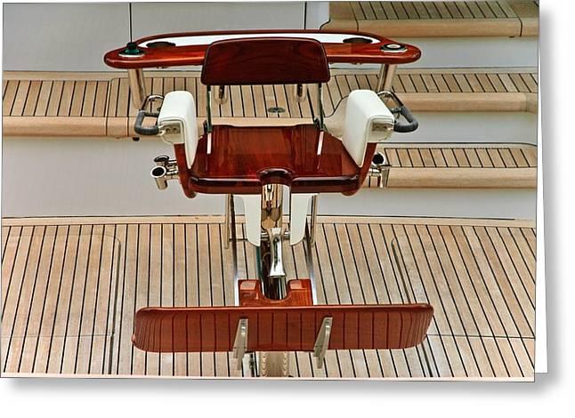 Susan Leggett Greeting Cards - Fishing Chair on a Yacht Greeting Card by Susan Leggett