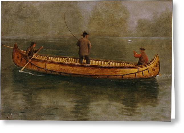 Biting Greeting Cards - Fishing from a Canoe Greeting Card by Albert Bierstadt