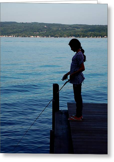 Keuka Greeting Cards - Fishing Girl Greeting Card by Steven Ainsworth