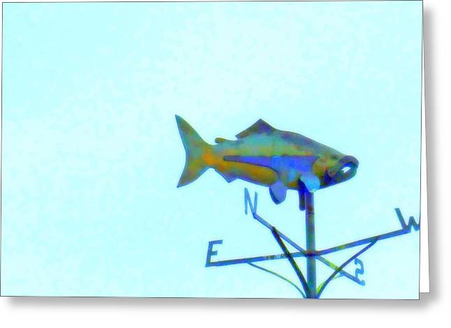 Weathervane Greeting Cards - Fishing In Vane Greeting Card by Randall Weidner