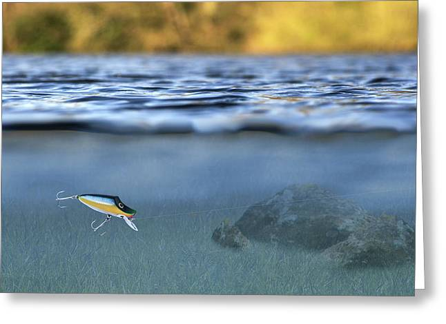fishing lure in use Greeting Card by Meirion Matthias