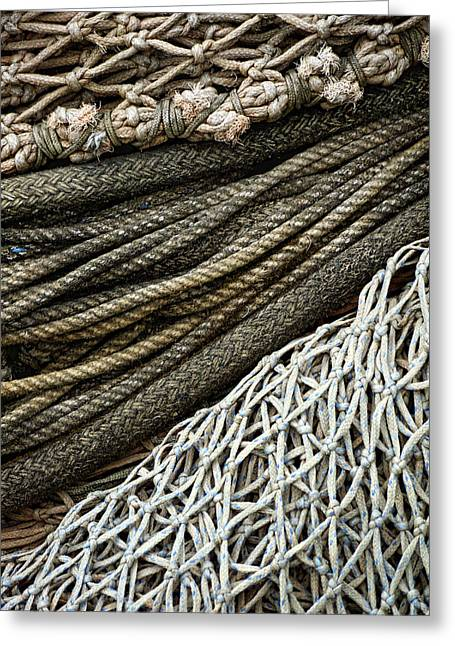 Monochromatic Greeting Cards - Fishing Nets Greeting Card by Carol Leigh