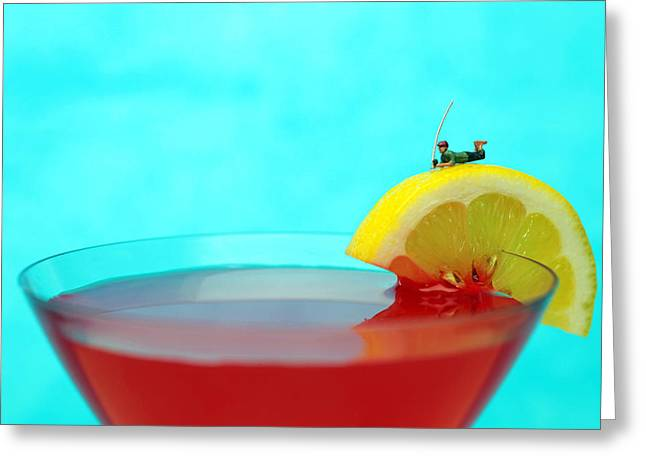 Fishing On A Piece Of Lemon Greeting Card by Paul Ge