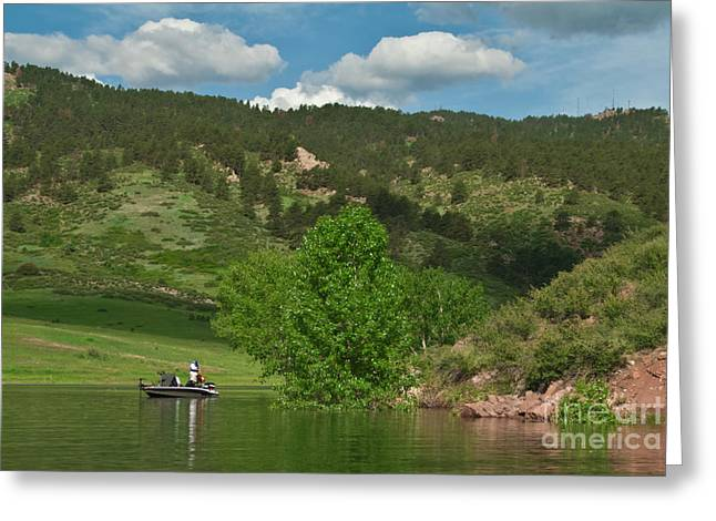 Horsetooth Reservoir Greeting Cards - Fishing on Horsetooth Reservoir Greeting Card by Harry Strharsky