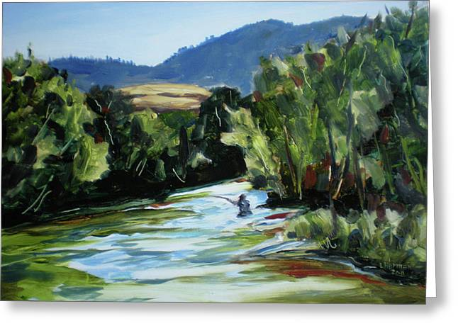 Fishing On The Boise Greeting Card by Les Herman