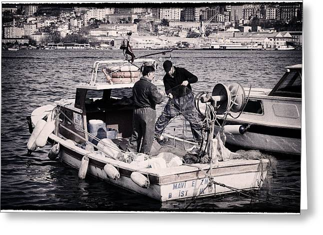 Marmara Greeting Cards - Fishing on the Golden Horn Greeting Card by Joan Carroll