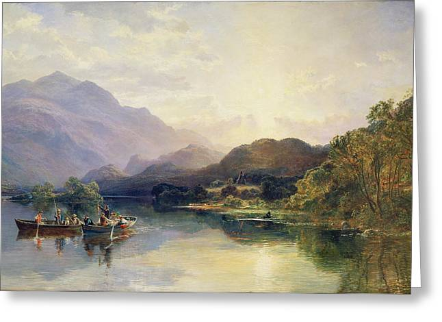 Beyond Greeting Cards - Fishing Party at Loch Achray with a View of Ben Venue Beyond Greeting Card by Samuel Bough