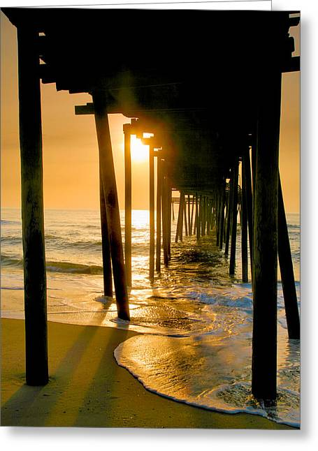 Pier Framed Prints Greeting Cards - Fishing Pier and Surf I Greeting Card by Steven Ainsworth