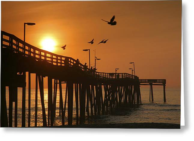 Framed Landscape Print Greeting Cards - Fishing Pier At Sunrise Greeting Card by Steven Ainsworth