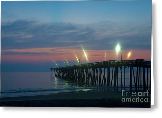 Atlantic Beaches Greeting Cards - Fishing Pier Sunrise Greeting Card by John Greim