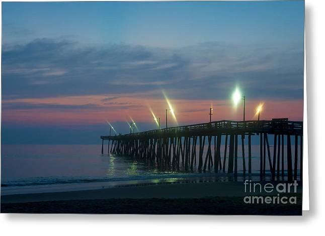 Fishing Pier Sunrise Greeting Card by John Greim