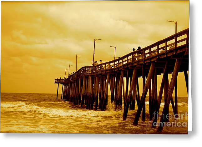 Ocean Photography Pyrography Greeting Cards - Fishing Pier Greeting Card by Ted Wheaton