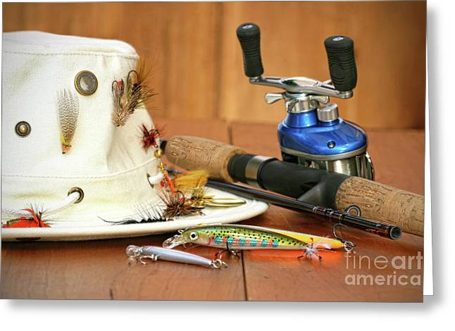 Activity Greeting Cards - Fishing reel with hat and color lures Greeting Card by Sandra Cunningham
