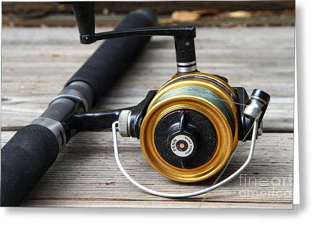 American Pastime Photographs Greeting Cards - Fishing Rod and Reel . 7D13547 Greeting Card by Wingsdomain Art and Photography