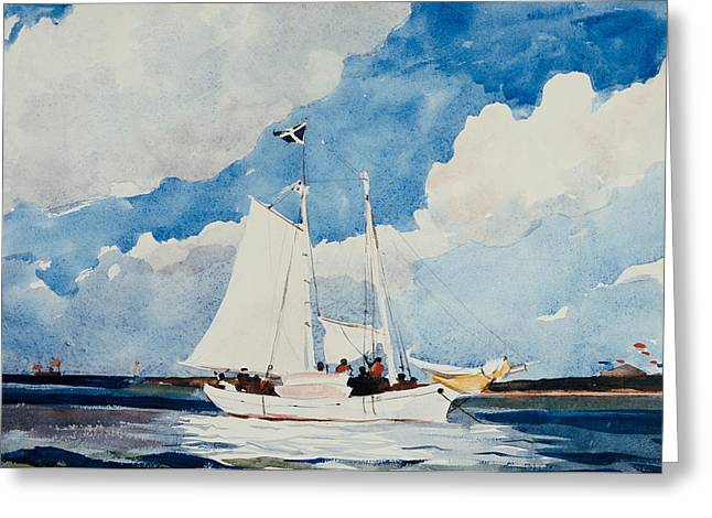 Atlantic Beaches Greeting Cards - Fishing Schooner in Nassau Greeting Card by Winslow Homer