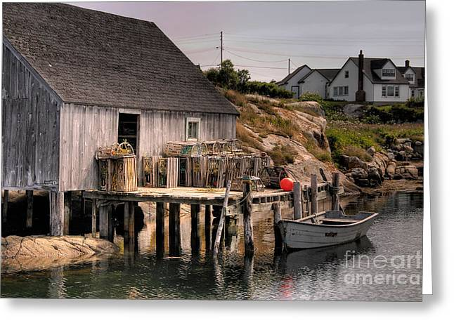 Lobster Shack Greeting Cards - Fishing Shack Greeting Card by Susan Isakson