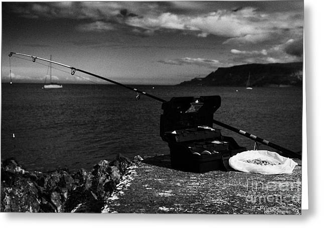 Fishing Tackle Box Filled With Sea Fishing Gear Rod And Bait On The County Antrim Coast Greeting Card by Joe Fox