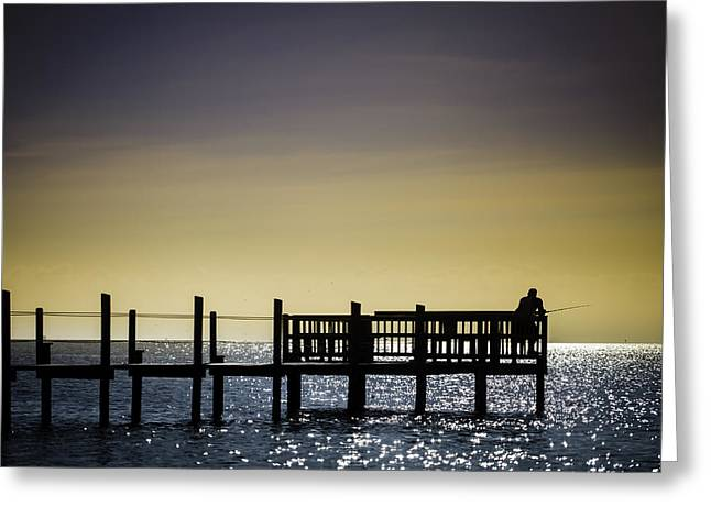 Fishing The End Of The Pier Greeting Card by Mabry Campbell