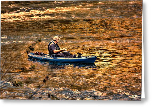 Trout Fishing Greeting Cards - Fishing The Golden Hour Greeting Card by Steven Richardson