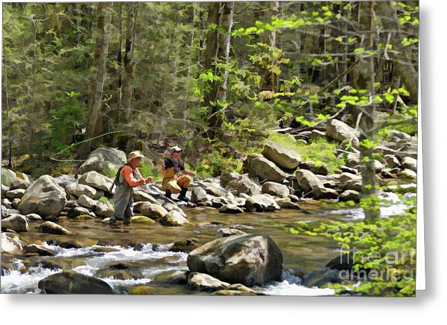 North Fork Digital Greeting Cards - Fishing the Little Pigeon River - D005193 Greeting Card by Daniel Dempster
