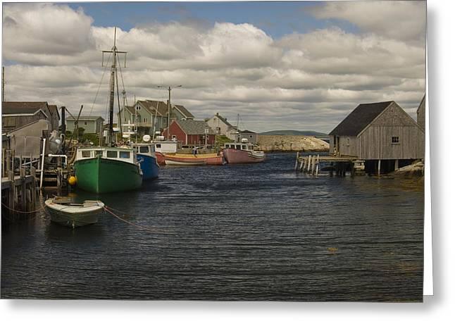 Cindy Rubin Greeting Cards - Fishing Village Greeting Card by Cindy Rubin