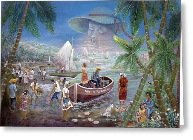 Haitian Paintings Greeting Cards - Fishing Village Greeting Card by Emmanuel Dostaly