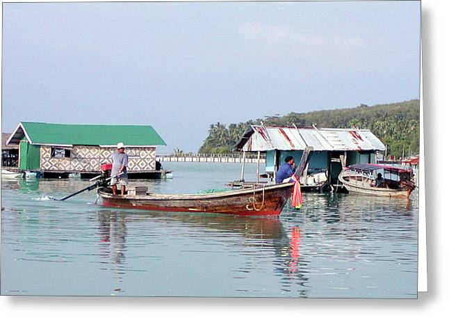 Digital Image Greeting Cards - Fishing Village Greeting Card by Paul Shefferly