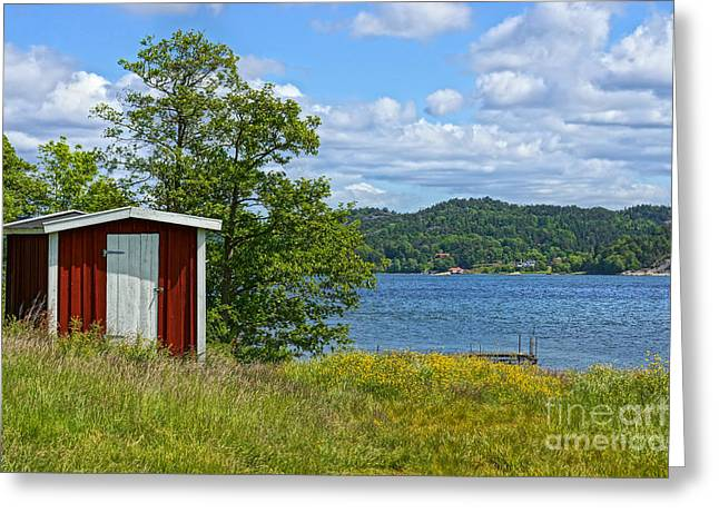 Shed Greeting Cards - Fishing Waters Greeting Card by Lutz Baar