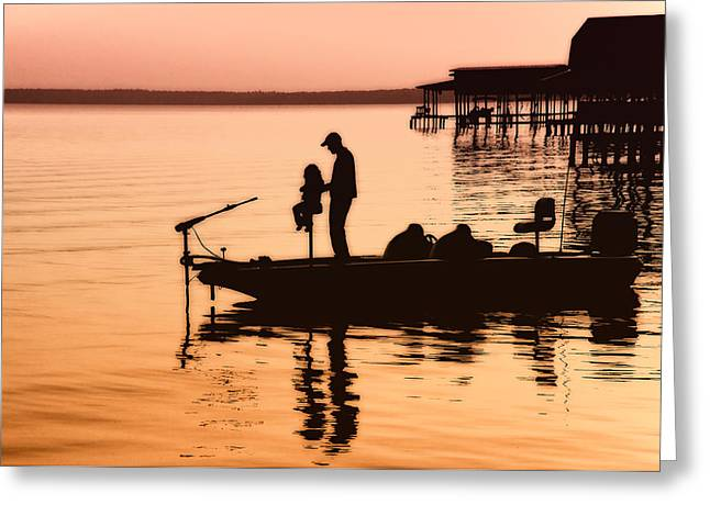 Fishing Boat Sunset Greeting Cards - Fishing with Daddy Greeting Card by Bonnie Barry