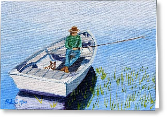 Dog In Lake Greeting Cards - Fishing with my Pal Greeting Card by Pauline Ross