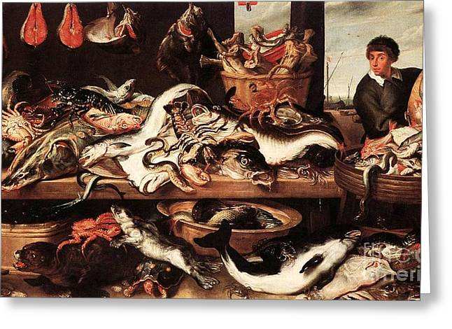 Fishmongers Greeting Cards - Fishmonger-1 Greeting Card by Pg Reproductions
