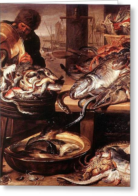 Fishmongers Greeting Cards - Fishmonger 2 Greeting Card by Pg Reproductions
