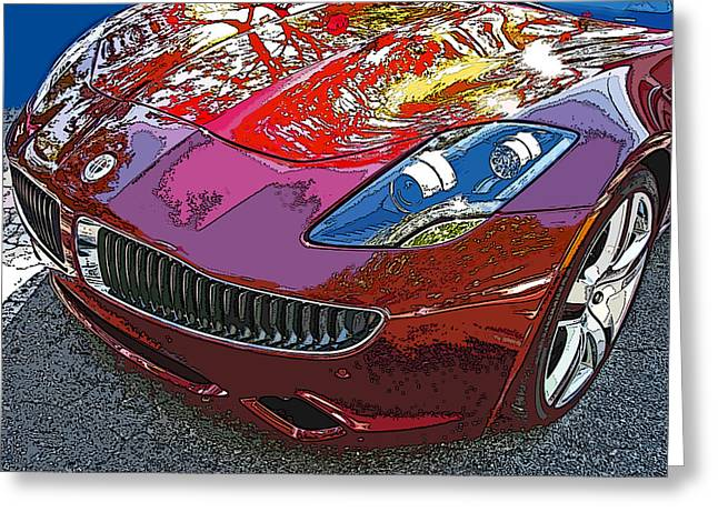 Samuel Sheats Greeting Cards - Fisker Karma Hybrid Electric Car Greeting Card by Samuel Sheats
