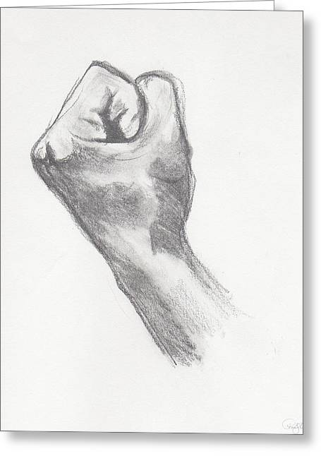 Empower Paintings Greeting Cards - Fist Greeting Card by Pamela  Corwin