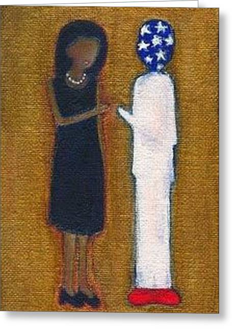 Michelle Obama Greeting Cards - Fist Pumping First Lady He Seeing Stars Greeting Card by Ricky Sencion