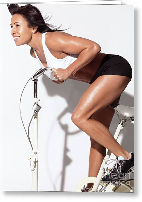 Full Body Greeting Cards - Fitness Woman on Exercise Bike Greeting Card by Oleksiy Maksymenko