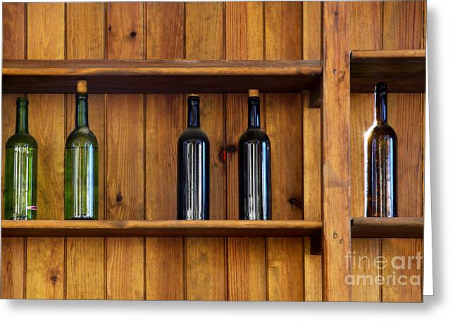 Vines Greeting Cards - Five Bottles Greeting Card by Carlos Caetano