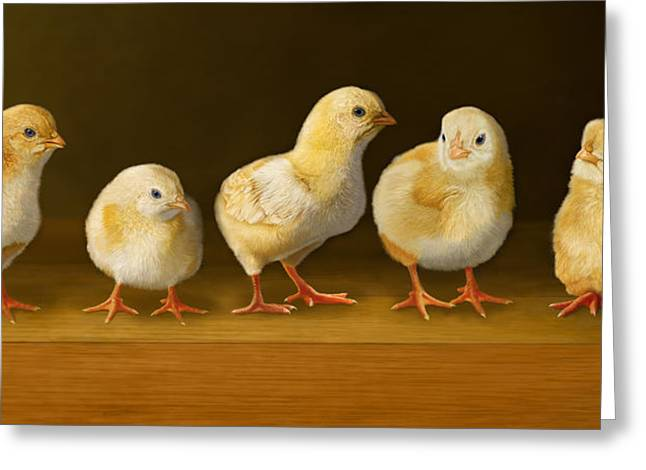 Baby Bird Greeting Cards - Five Chicks Named Moe Greeting Card by Bob Nolin