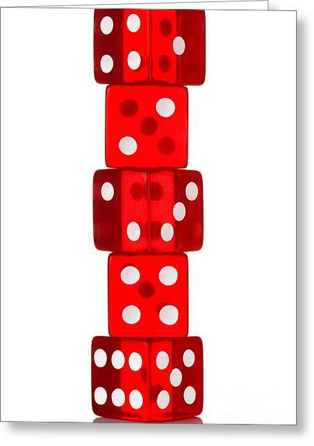 Craps Greeting Cards - Five dice stack Greeting Card by Richard Thomas