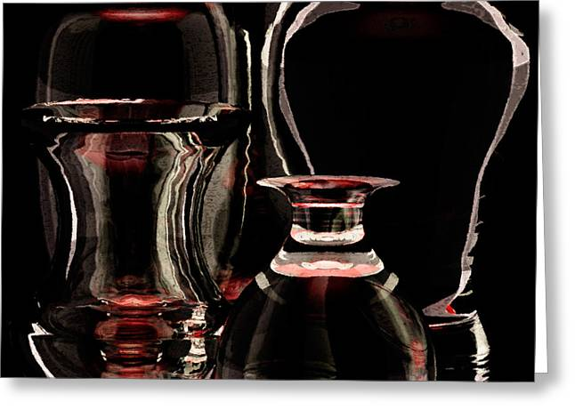 Glasses Reflecting Digital Art Greeting Cards - Five Glass Vases Full View Greeting Card by Peter J Sucy