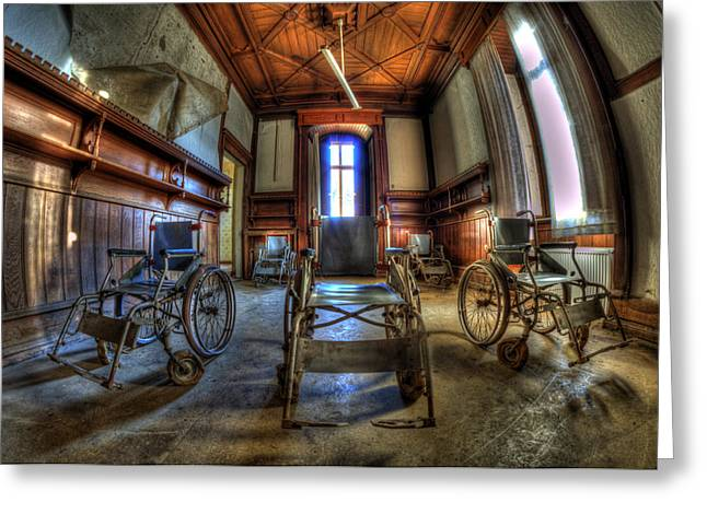 Mental Institution Greeting Cards - Five go mad for wheels Greeting Card by Nathan Wright