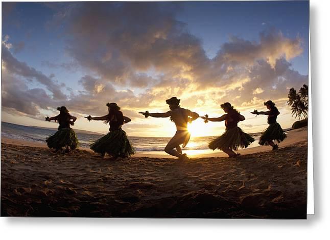 Full Skirt Greeting Cards - Five Hula Dancers At The Beach At Palauea Greeting Card by David Olsen