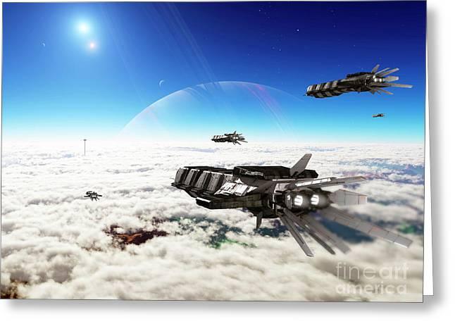 Interstellar Travel Greeting Cards - Five Medium Freighters Deccelerate Greeting Card by Brian Christensen