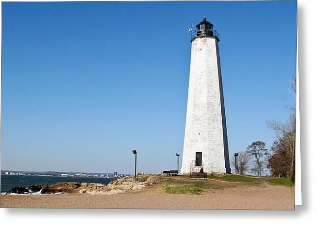 Five Mile Point Light Greeting Card by Gerald Mitchell