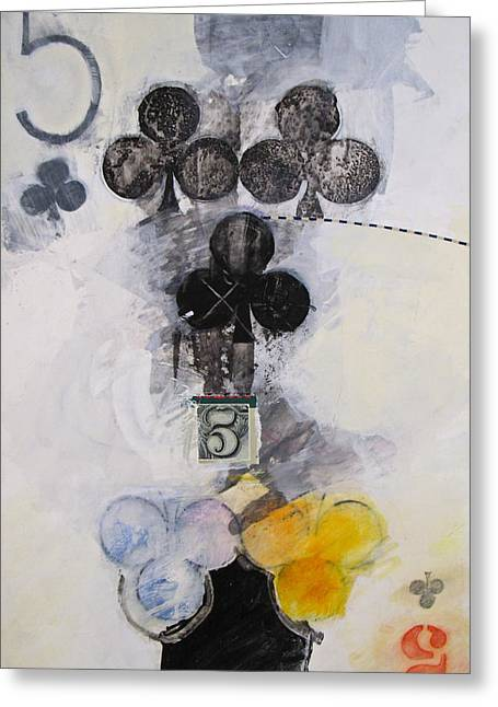 Playing Cards Mixed Media Greeting Cards - Five of Clubs 18-52 Greeting Card by Cliff Spohn