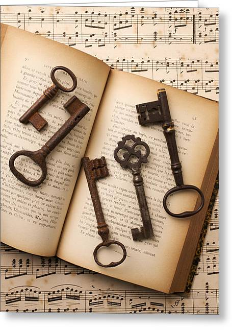 Key Greeting Cards - Five old keys Greeting Card by Garry Gay