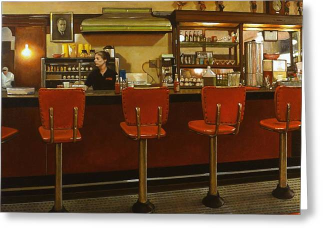 Waitress Paintings Greeting Cards - Five Past Six at the Mecca Cafe Greeting Card by Doug Strickland