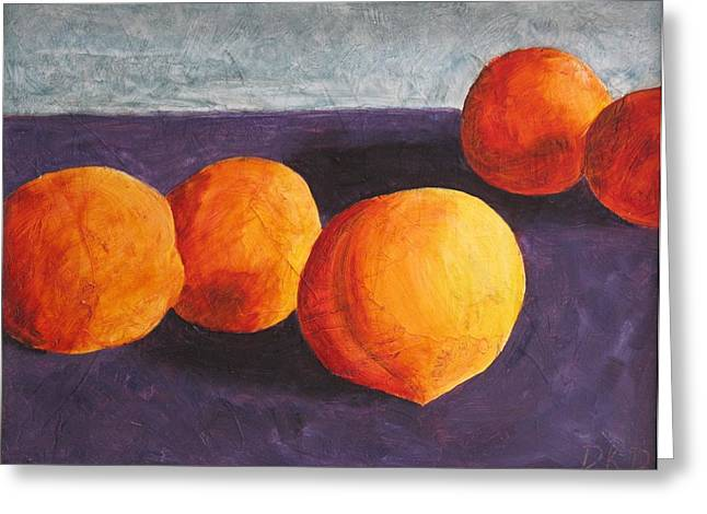Local Food Paintings Greeting Cards - Five Peaches Greeting Card by Dina Day