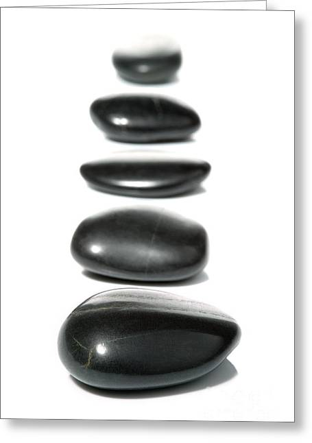 Wellbeing Greeting Cards - Five pebble row Greeting Card by Richard Thomas