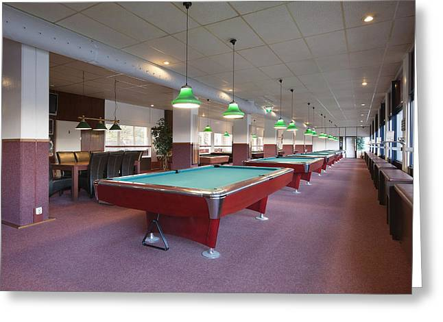 Empty Pool Greeting Cards - Five Pool Billiards Tables In A Row Greeting Card by Corepics